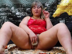Beautiful Fatty Smokes And Fucks Herself With A Dildo. Hairy Pussy